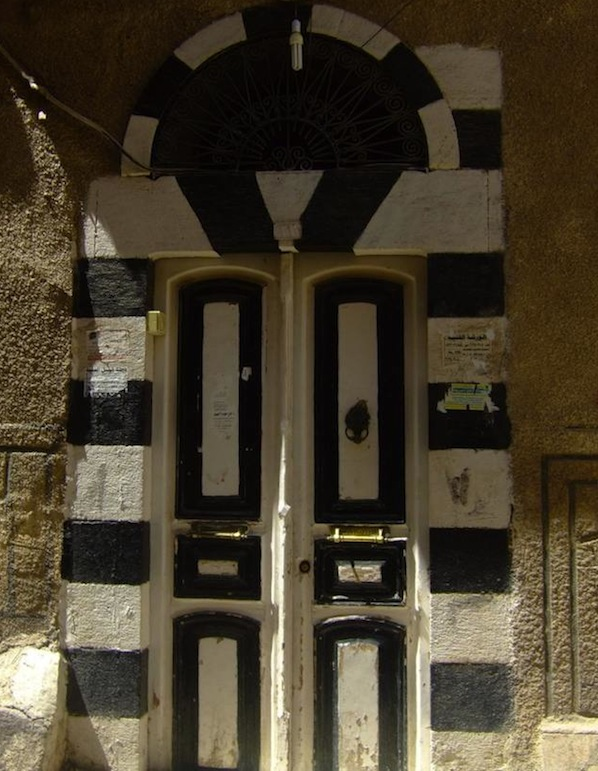 Damascus door for post