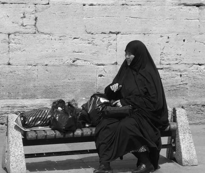 Muslim woman resting near Spice Bazaar