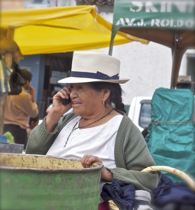 Indigenous Ecuadorian Woman at Market Near Cuenca