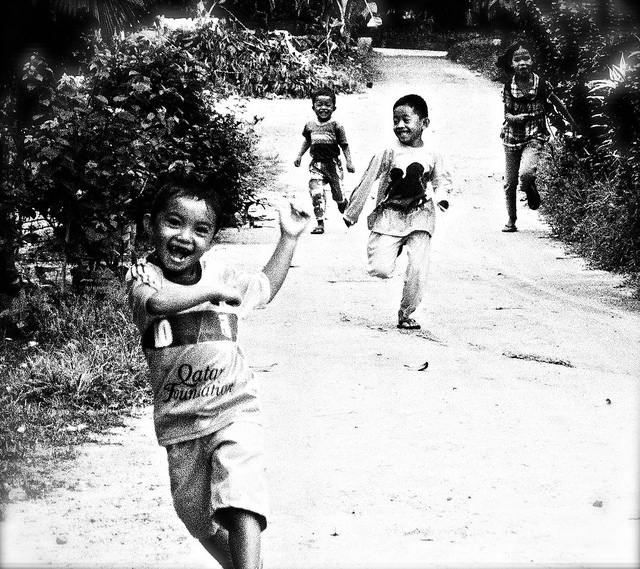 Village kids running